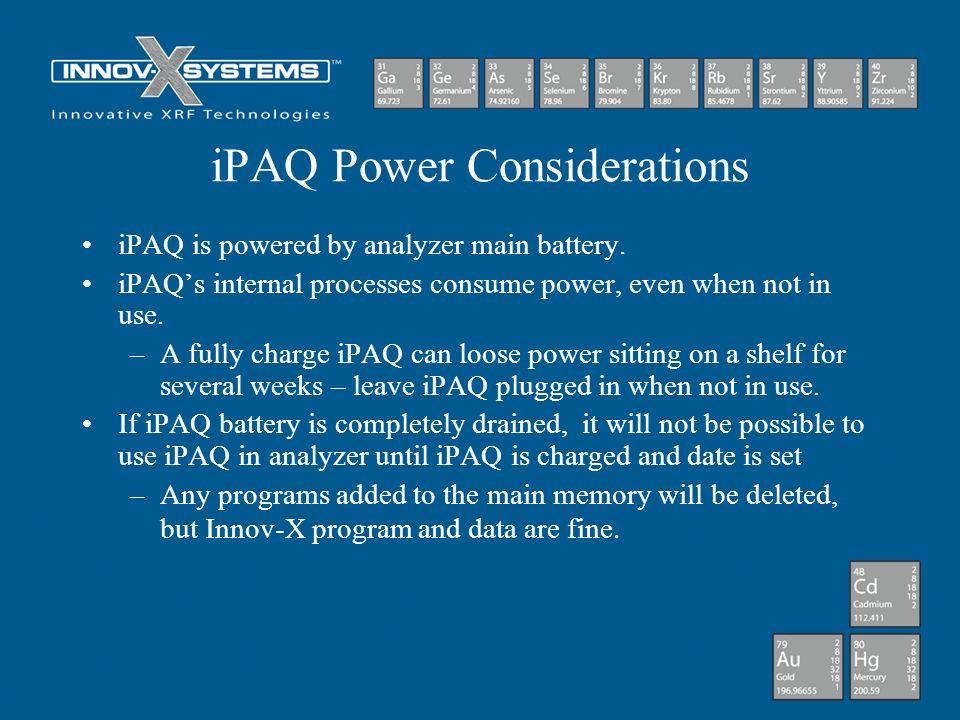 iPAQ Power Considerations