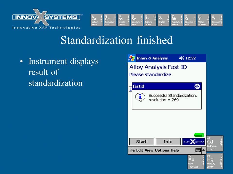 Standardization finished