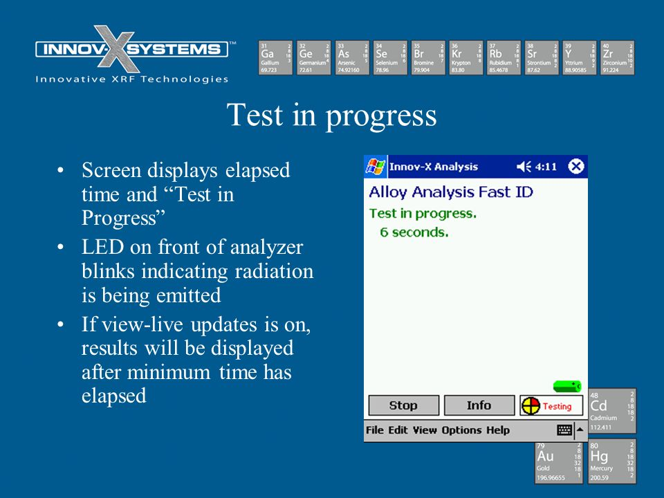 Test in progress Screen displays elapsed time and Test in Progress