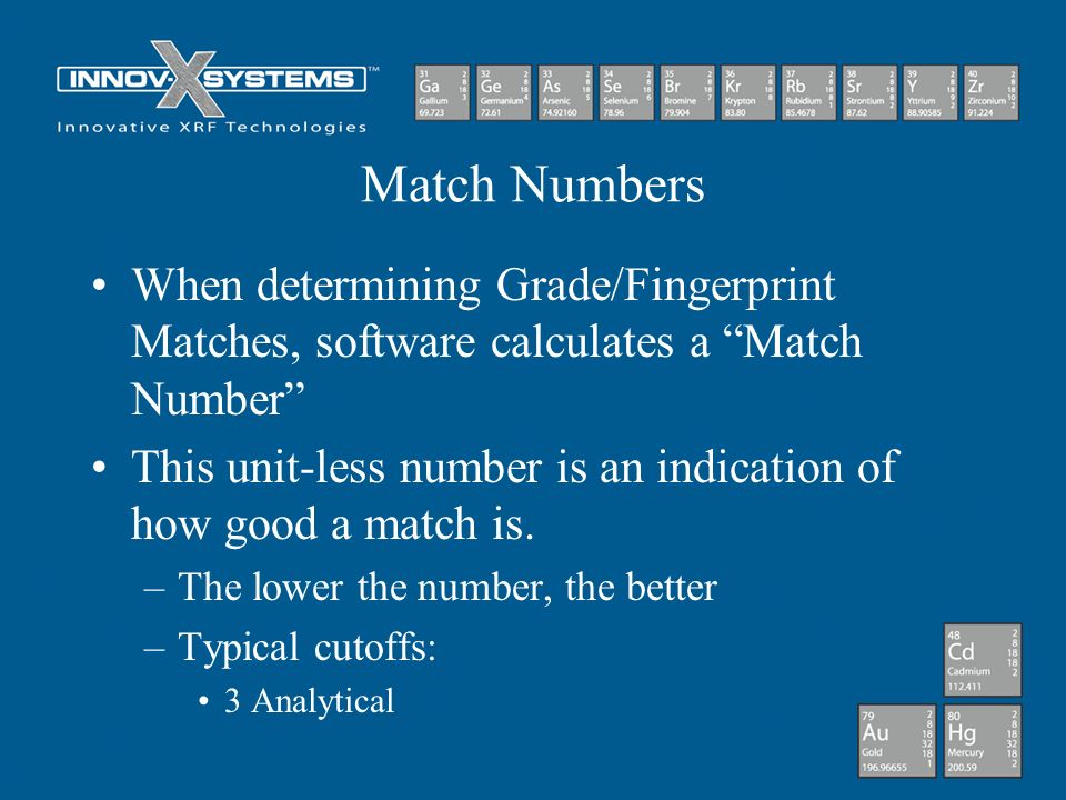 Match Numbers When determining Grade/Fingerprint Matches, software calculates a Match Number