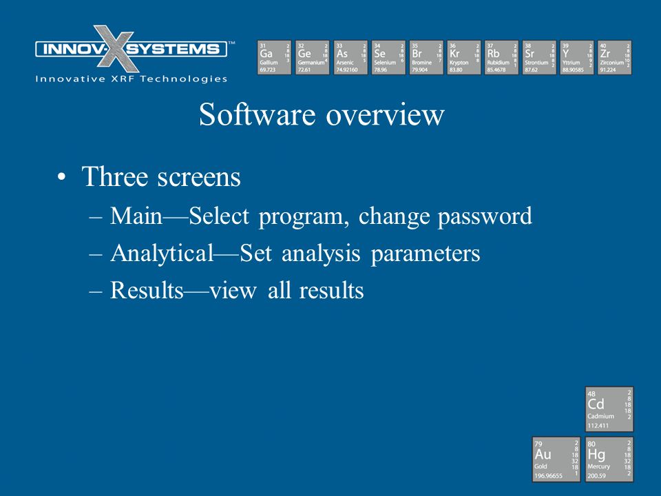 Software overview Three screens Main—Select program, change password