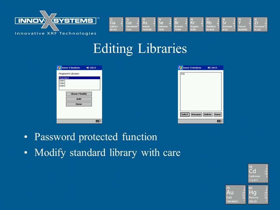 Editing Libraries Password protected function