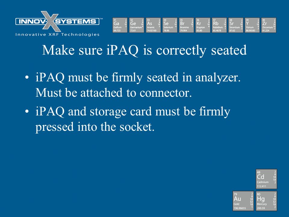 Make sure iPAQ is correctly seated