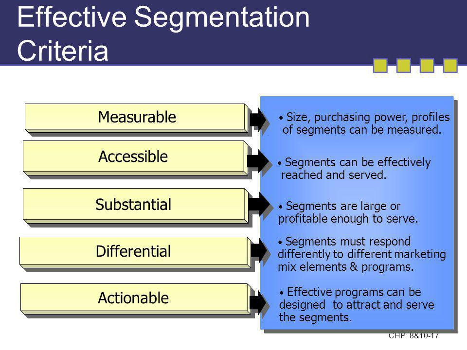 Effective Segmentation Criteria