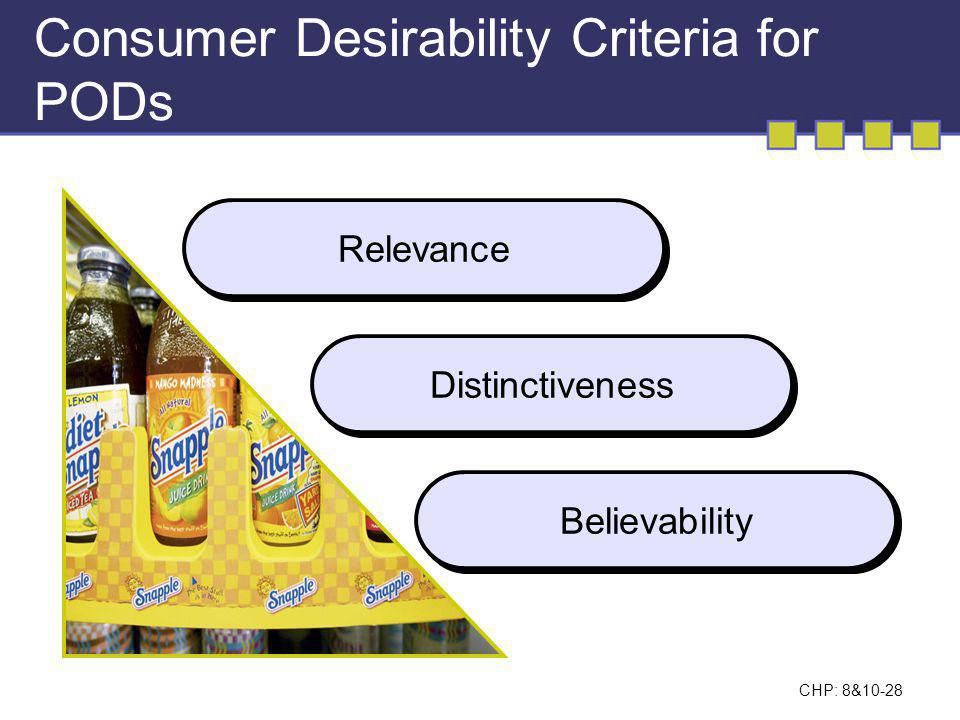 Consumer Desirability Criteria for PODs