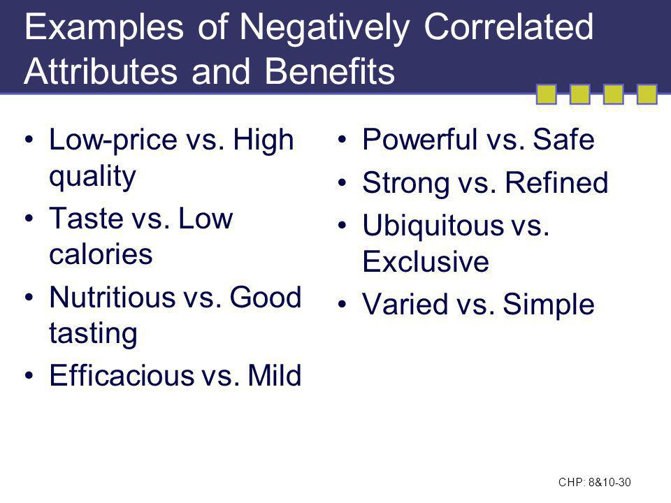 Examples of Negatively Correlated Attributes and Benefits