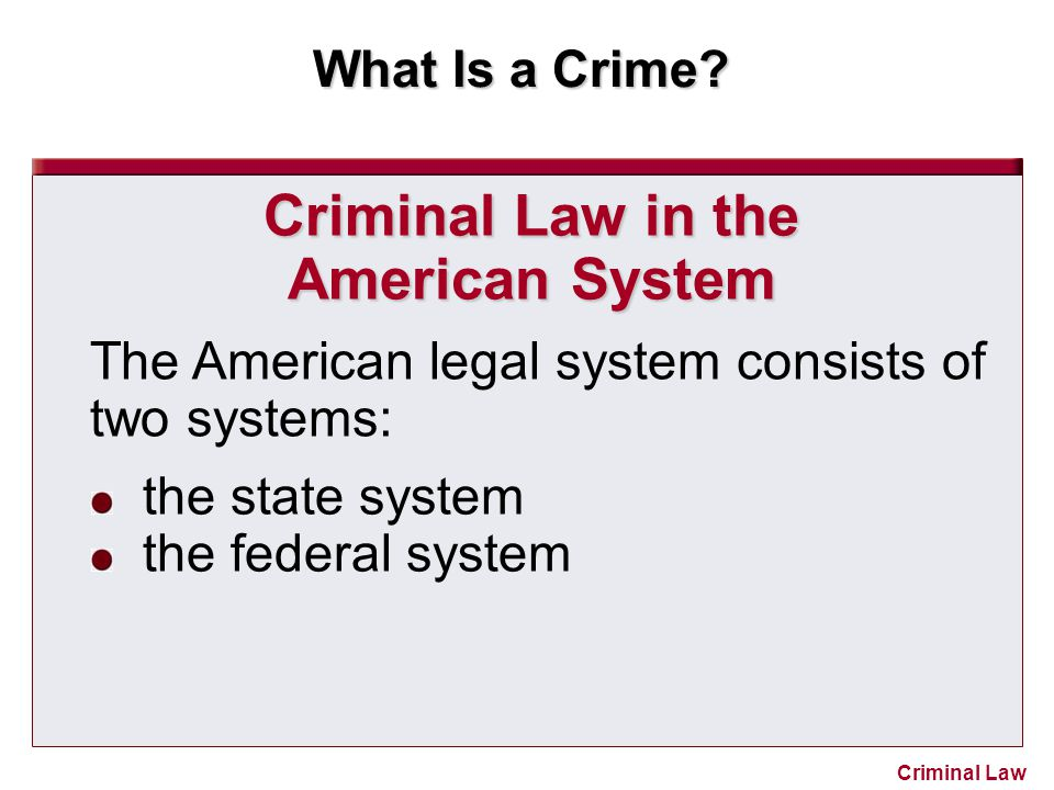 Criminal Law in the American System