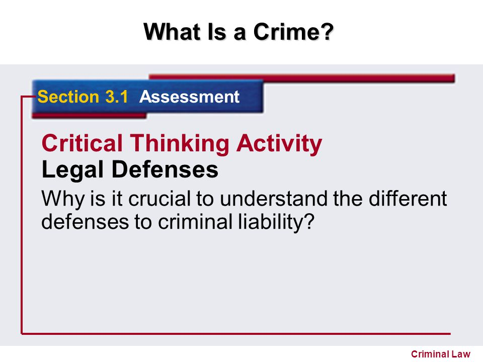 Critical Thinking Activity Legal Defenses