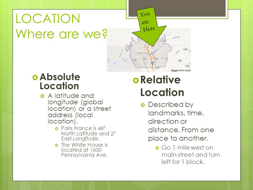 LOCATION Where are we Relative Location Absolute Location