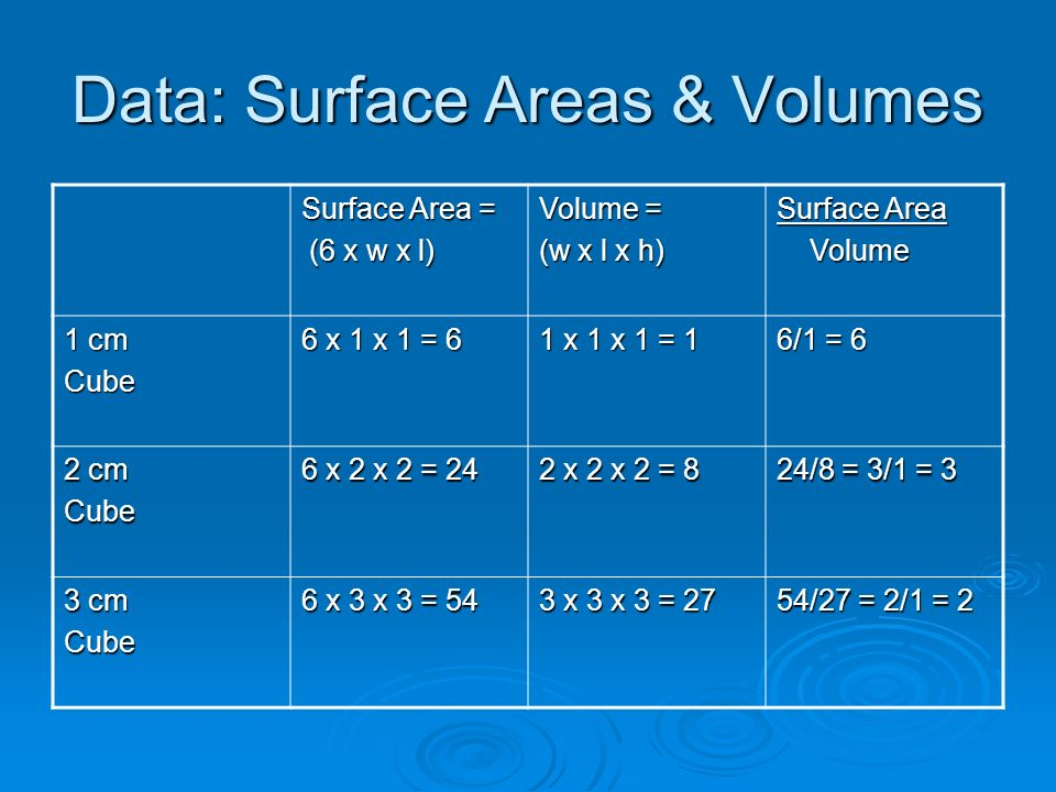 Data: Surface Areas & Volumes