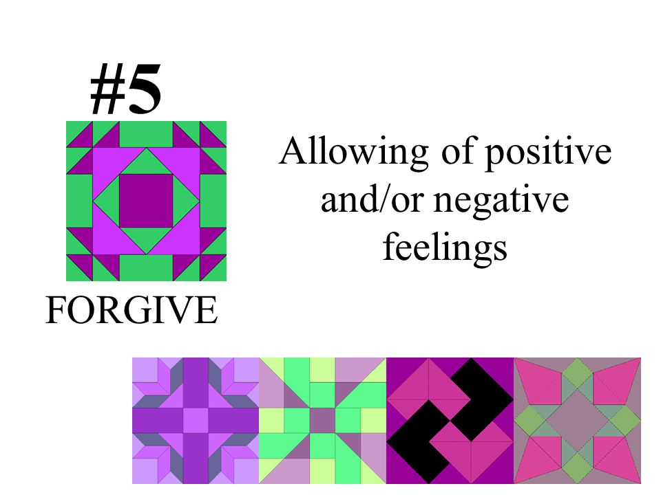 Allowing of positive and/or negative feelings