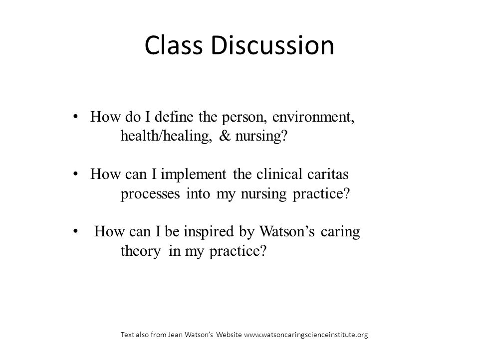 Class Discussion How do I define the person, environment, health/healing, & nursing