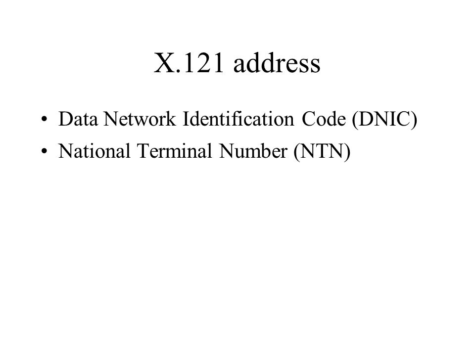 X.121 address Data Network Identification Code (DNIC)