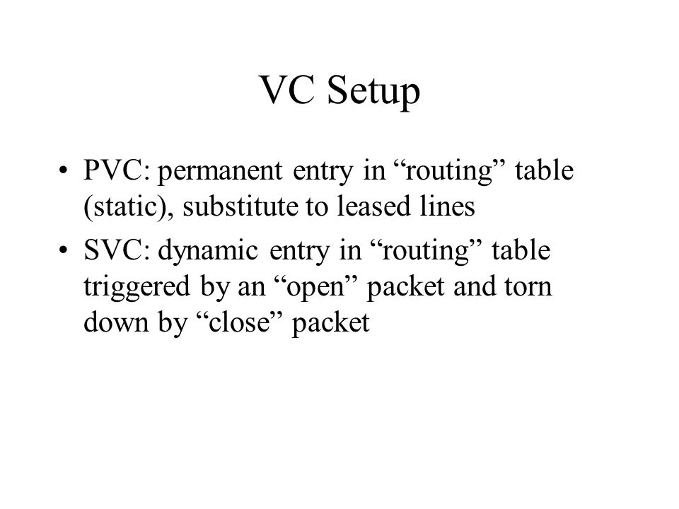 VC Setup PVC: permanent entry in routing table (static), substitute to leased lines.