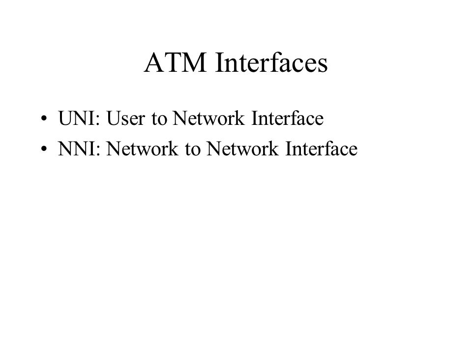 ATM Interfaces UNI: User to Network Interface
