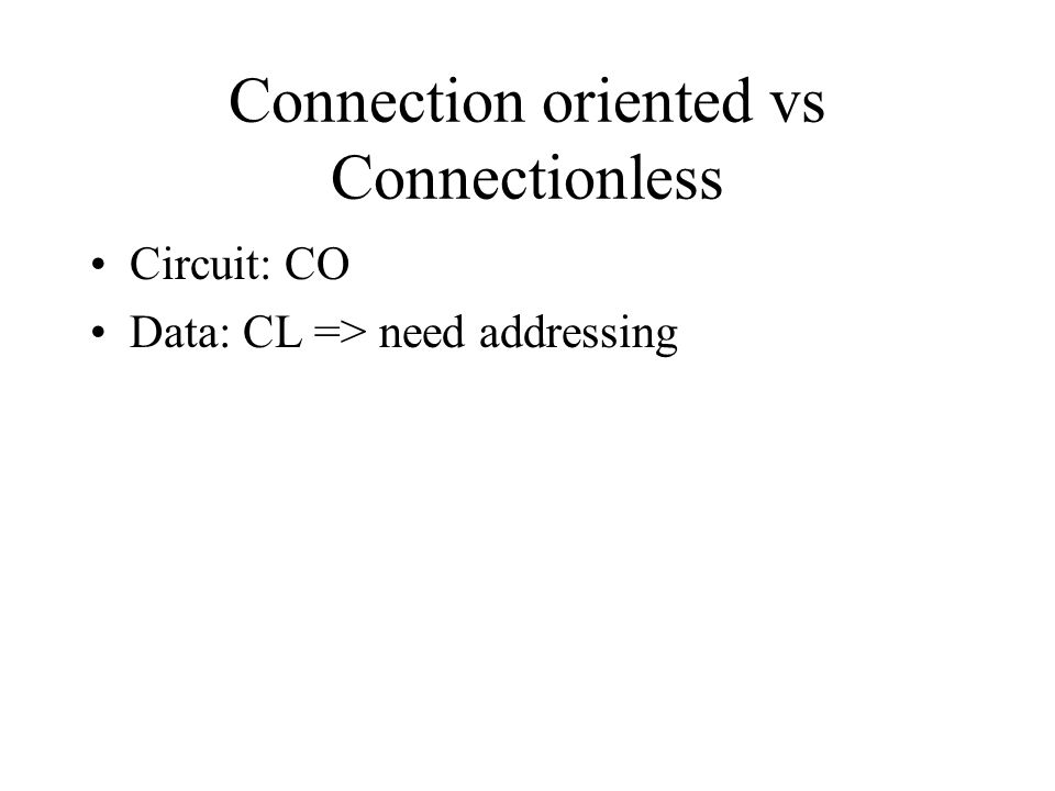 Connection oriented vs Connectionless