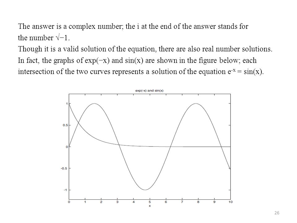 The answer is a complex number; the i at the end of the answer stands for the number √−1.
