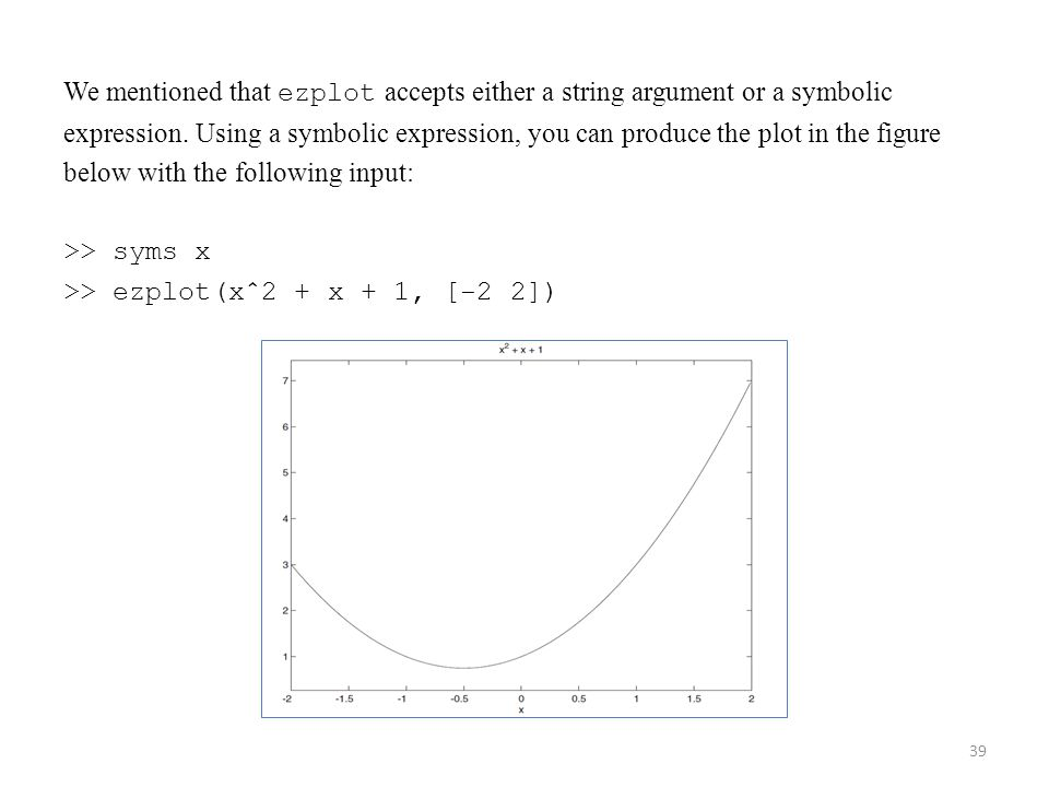 We mentioned that ezplot accepts either a string argument or a symbolic expression.