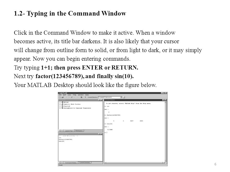 1.2- Typing in the Command Window