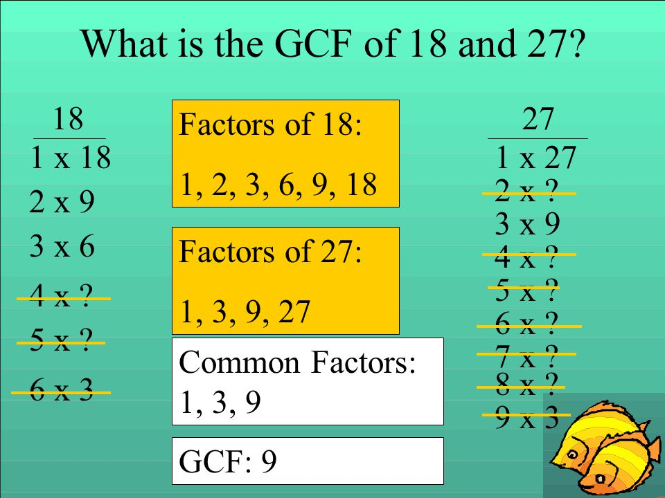 What is the GCF of 18 and 27 18 27 Factors of 18: 1, 2, 3, 6, 9, 18