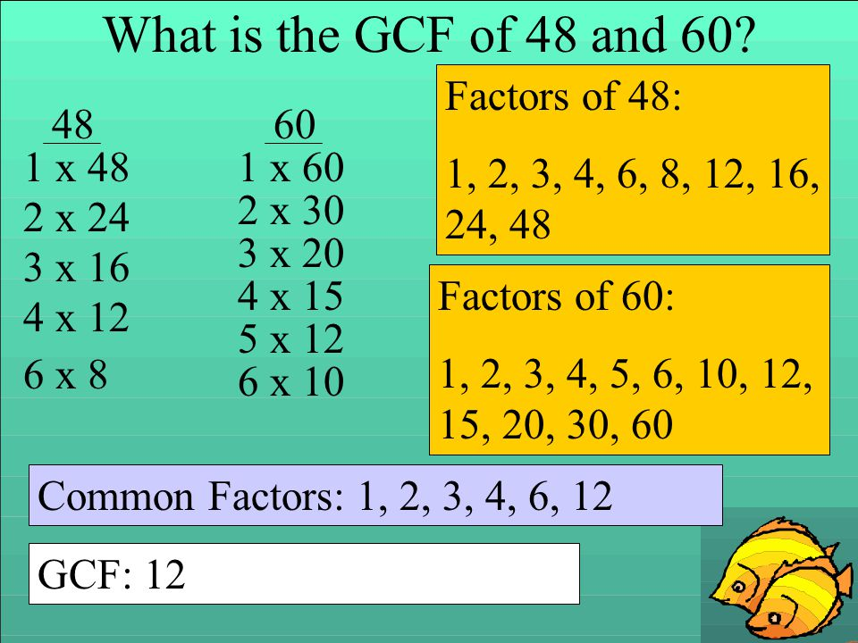 What is the GCF of 48 and 60 Factors of 48:
