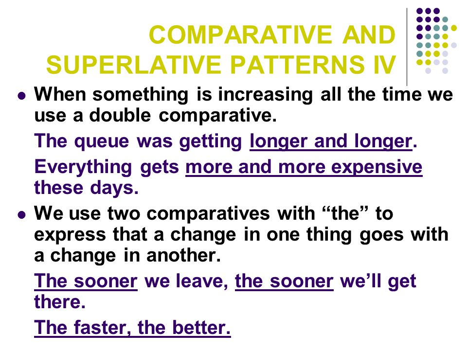 COMPARATIVE AND SUPERLATIVE PATTERNS IV