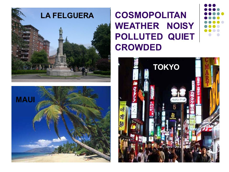 COSMOPOLITAN WEATHER NOISY POLLUTED QUIET CROWDED LA FELGUERA TOKYO