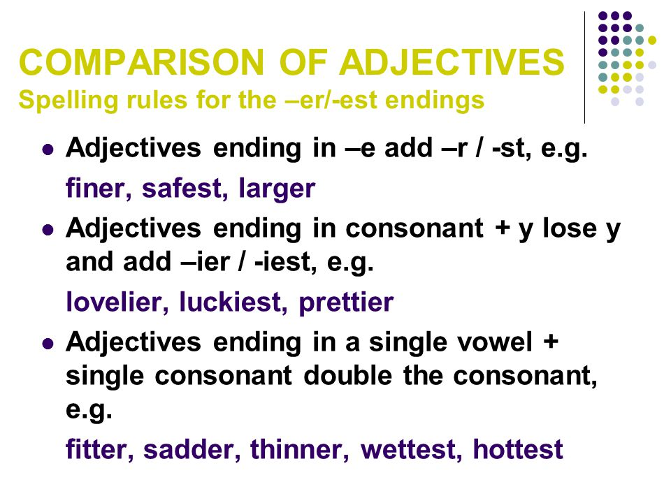 COMPARISON OF ADJECTIVES Spelling rules for the –er/-est endings