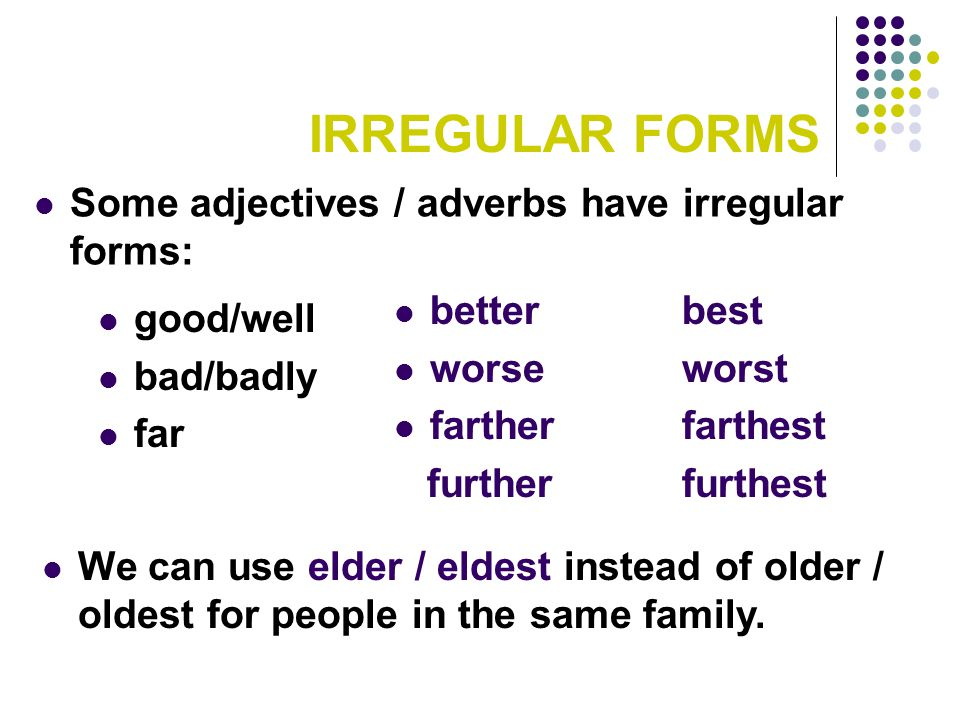 IRREGULAR FORMS Some adjectives / adverbs have irregular forms: