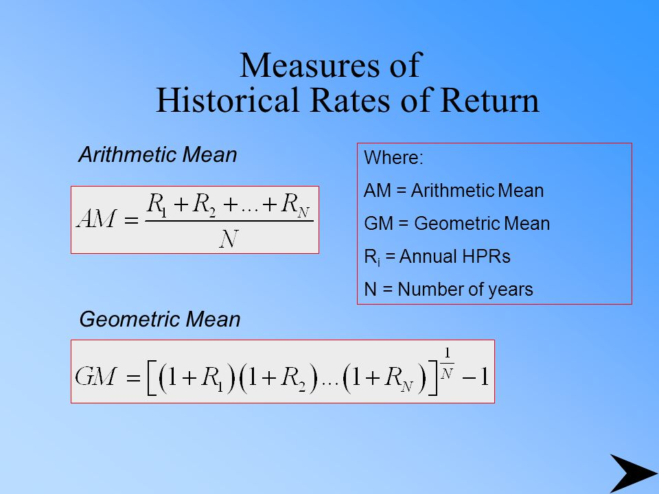 Measures of Historical Rates of Return