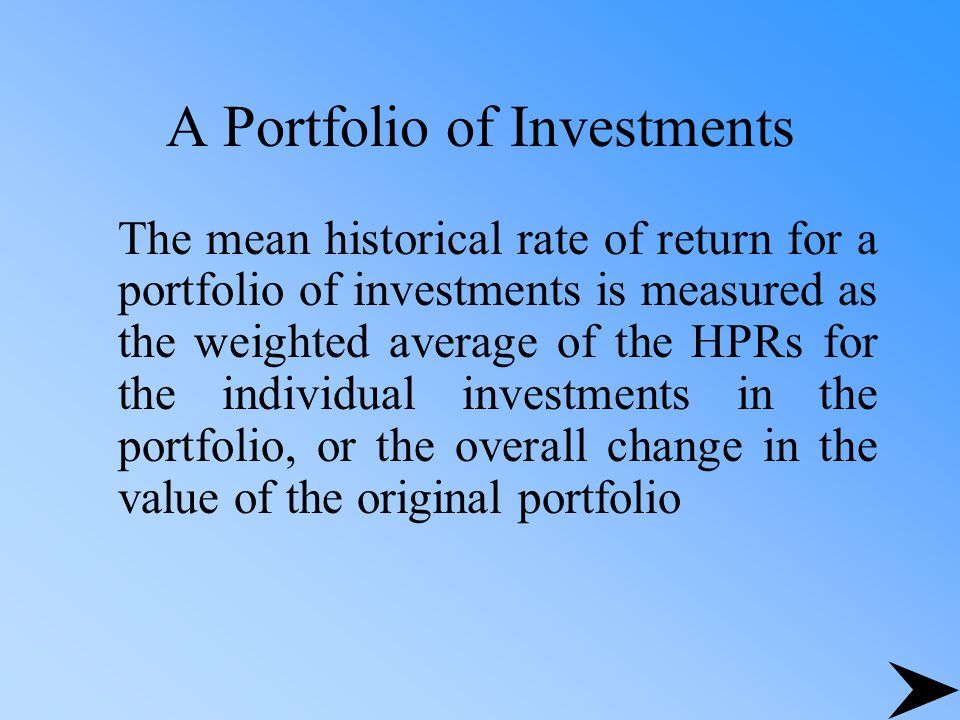 A Portfolio of Investments
