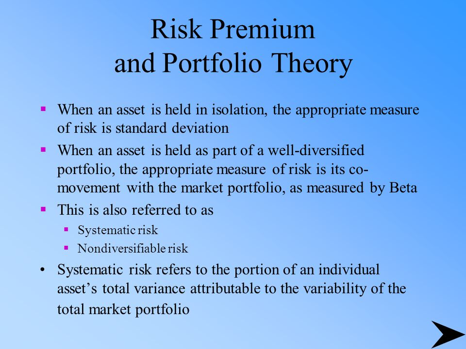 Risk Premium and Portfolio Theory