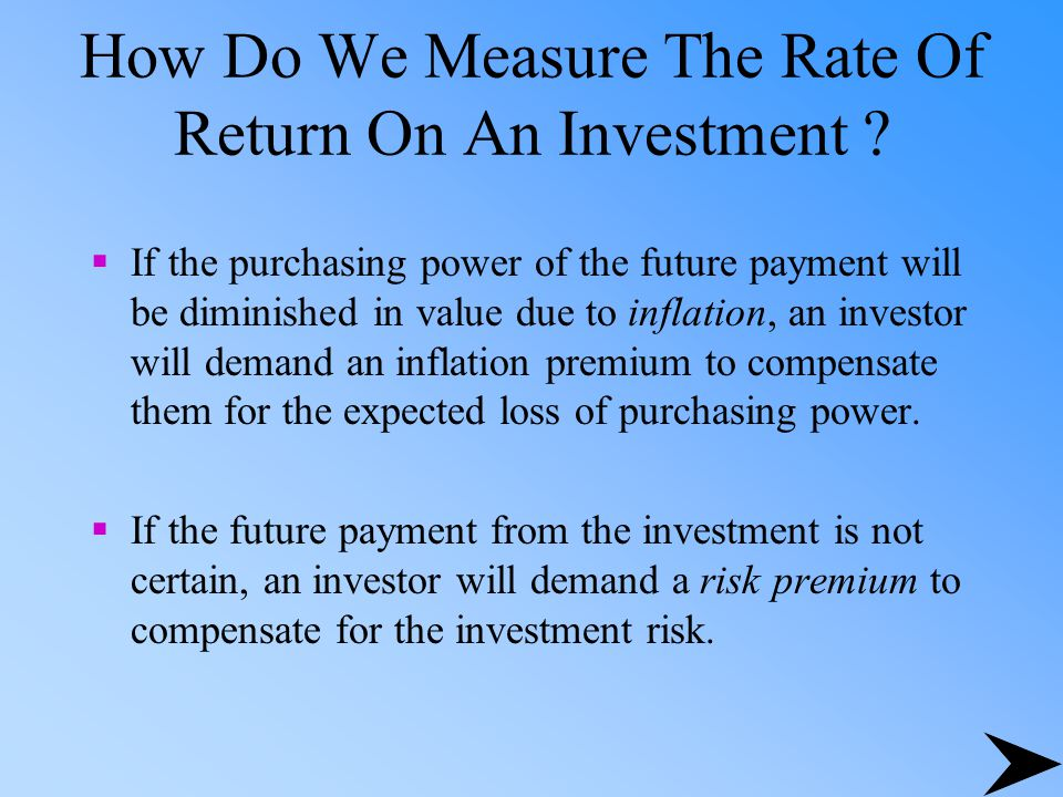 How Do We Measure The Rate Of Return On An Investment