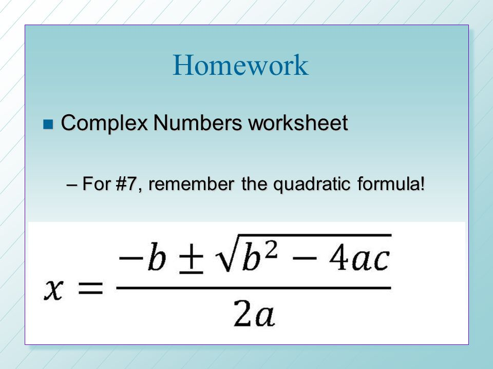 Homework Complex Numbers worksheet