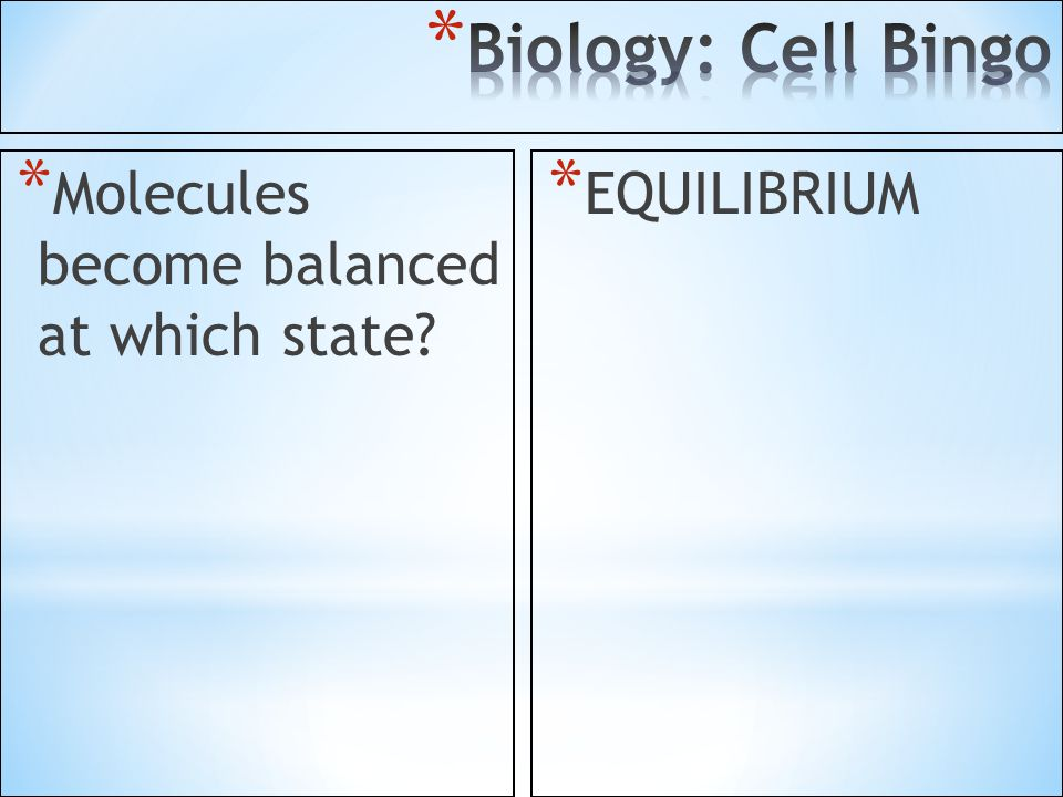 Biology: Cell Bingo Molecules become balanced at which state