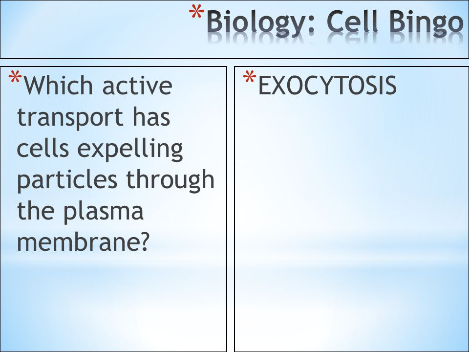 Biology: Cell Bingo Which active transport has cells expelling particles through the plasma membrane