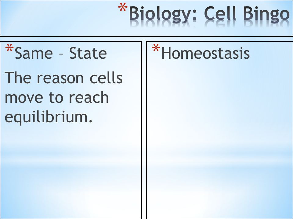 Biology: Cell Bingo Same – State