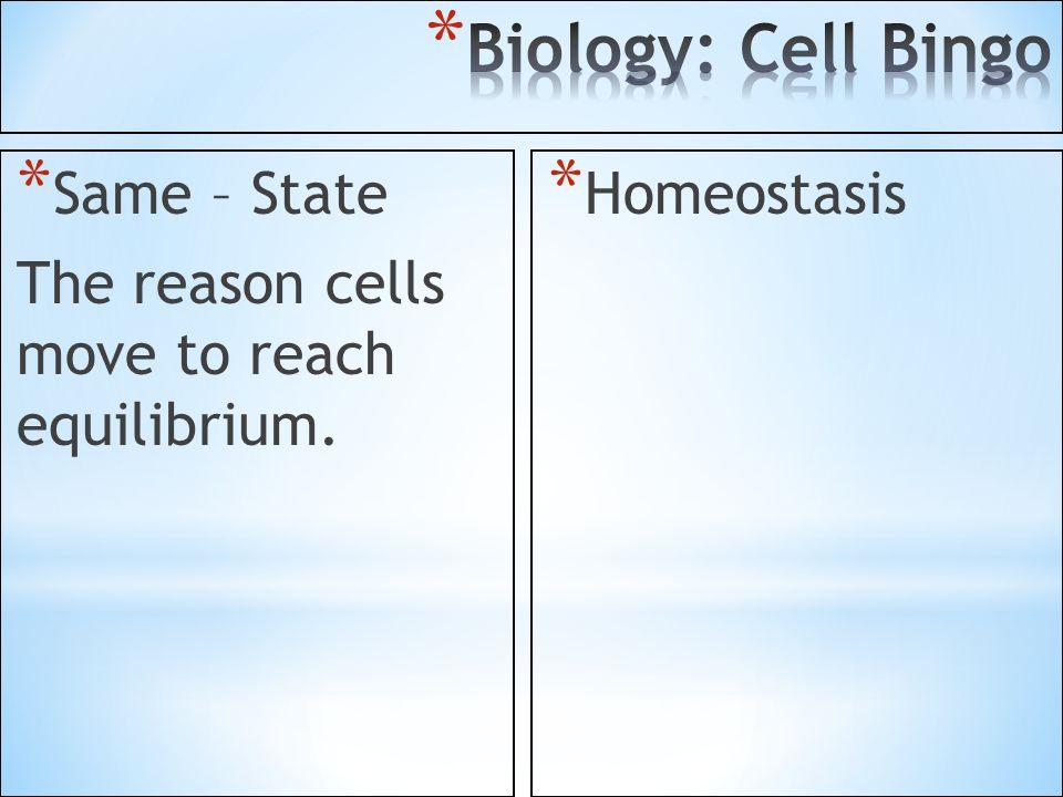 Biology: Cell Bingo Same – State