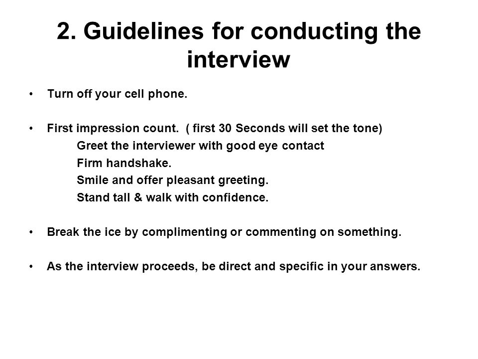 2. Guidelines for conducting the interview