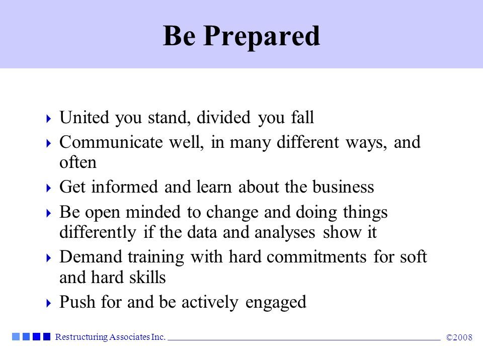 Be Prepared United you stand, divided you fall