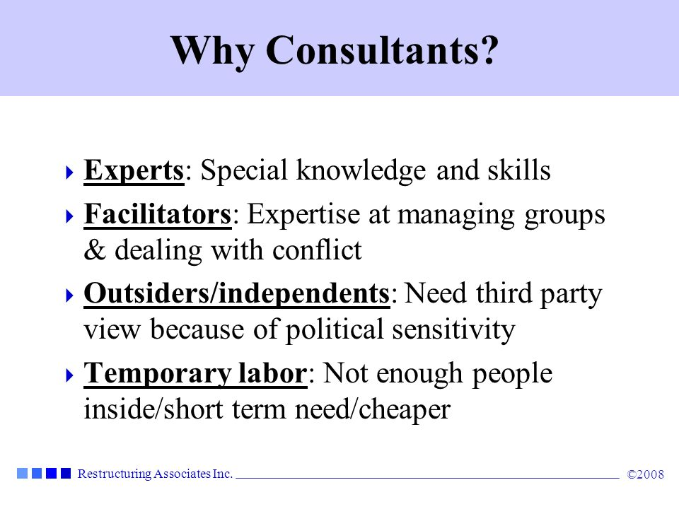 Why Consultants Experts: Special knowledge and skills