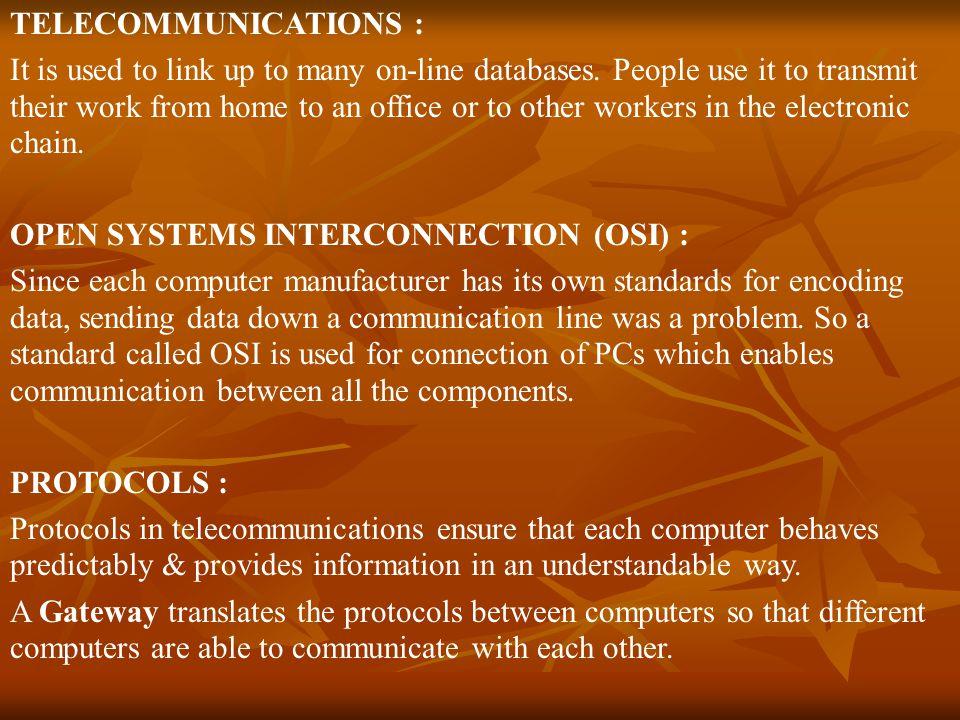 TELECOMMUNICATIONS :