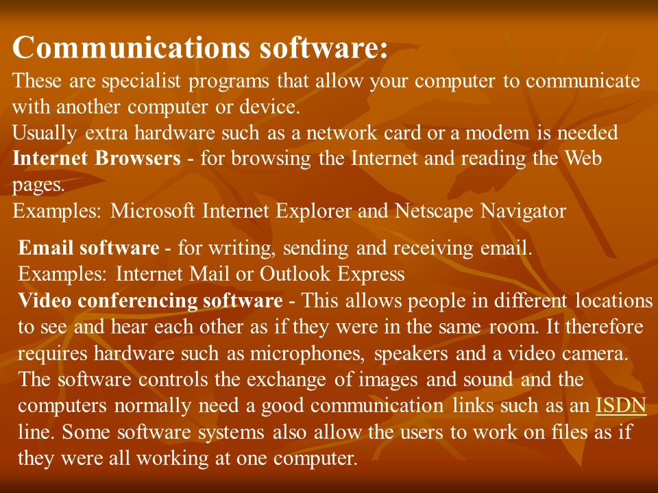 Communications software: