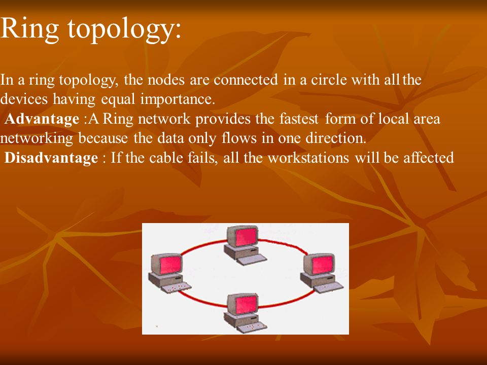 Ring topology: In a ring topology, the nodes are connected in a circle with all the devices having equal importance.