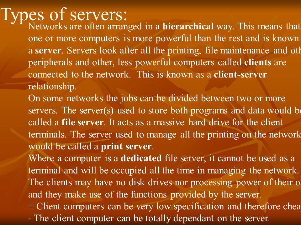 Types of servers: