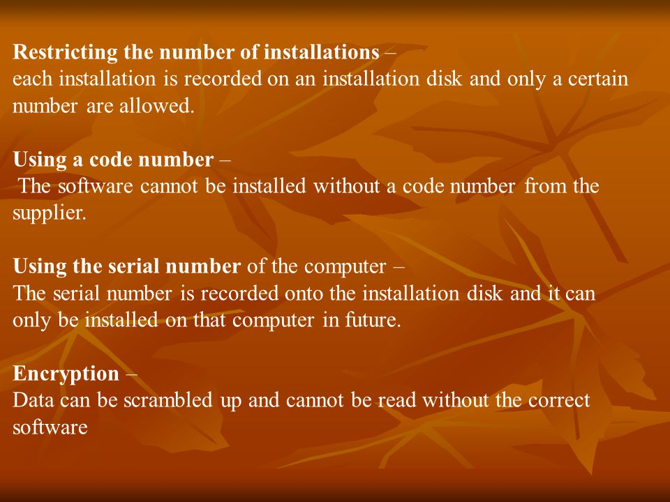 Restricting the number of installations –
