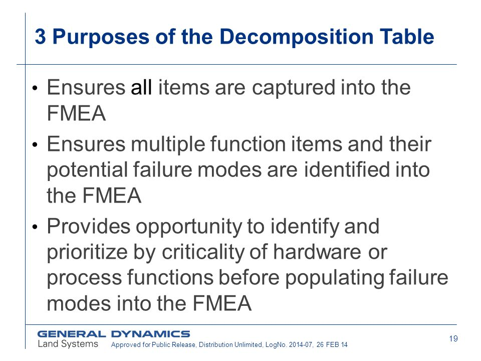 3 Purposes of the Decomposition Table