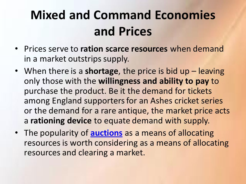 Mixed and Command Economies and Prices