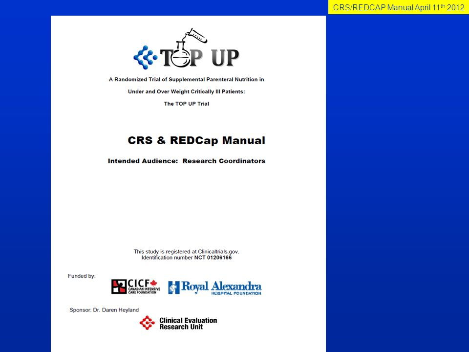 CRS/REDCAP Manual April 11th 2012