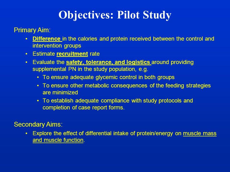 Objectives: Pilot Study